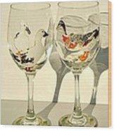 Ducks On Wineglasses Wood Print