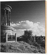 Dugald Stewart Monument Calton Hill With View Of Edinburgh Skyline Scotland Uk United Kingdom Wood Print