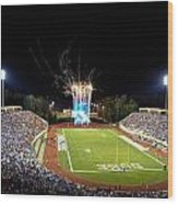 Duke Fireworks At A Packed Wallace Wade Stadium Wood Print