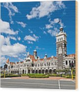 Dunedin Railway Station During A Sunny Day  Wood Print