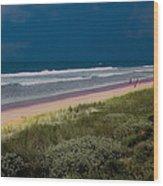 Dunes And Ocean Divided Wood Print