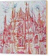 Duomo City Of Milan In Italy Portrait Wood Print
