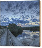 Dusk At The Abol Bridge Wood Print