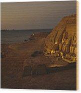 Dusk Descends On Abu Simbel With Lake Wood Print