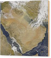Dust And Smoke Over Iraq And The Middle Wood Print