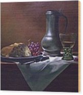 Dutch Roemer With Bread And Grapes Wood Print