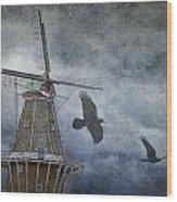 Dutch Windmill With Ravens Wood Print