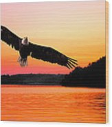 Eagle At Break Of Dawn Wood Print