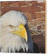 Eagle On Brick Wood Print