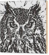 Eagle Owl Wood Print by Julia Forsyth