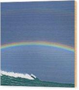 Ealy Morning Rainbow Surf Wood Print