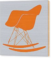 Eames Rocking Chair Orange Wood Print by Naxart Studio