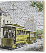Early Electric Tram Wood Print