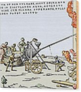 Early Firefighting Equipment, 1569 Wood Print