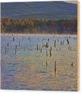 Early Morning Color Of Lake Wilhelmina-arkansas Wood Print