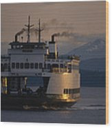 Early Morning Ferry Leaves Seattle Wood Print