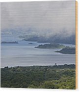 Early Morning Fog Rises Over Lake Wood Print