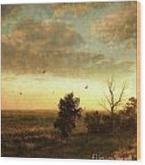Early Morning Sunrise On The Praires Wood Print