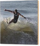 Early Morning Surfing Wood Print