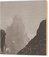 Early Mountaineering In The Alps Wood Print by Georges Tairraz