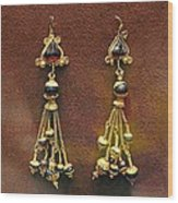 Earrings With Garnets Wood Print by Andonis Katanos