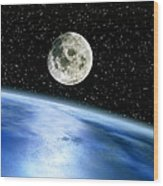 Earth And Moon Wood Print by Julian Baum