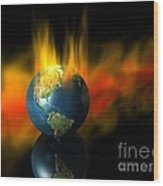 Earth And Oil Fire Wood Print