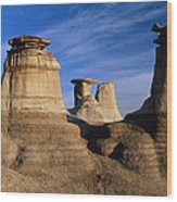 Earth Pillars (hoodoos) In Alberta Badlands Canada Wood Print