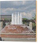 Earthen Brick Water Fountain W Blue Skye Wood Print