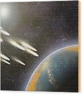 Earth's Cometary Bombardment, Artwork Wood Print by Equinox Graphics