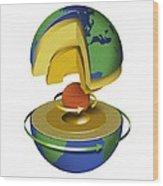Earth's Internal Structure, Artwork Wood Print