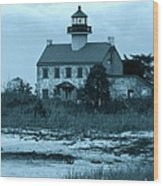 East Point Light In The Clouds Wood Print