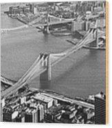 East River Bridges New York Wood Print