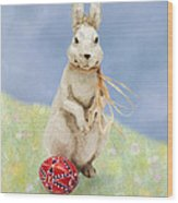 Easter Bunny With A Painted Egg Wood Print