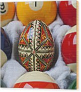 Easter Egg Among Pool Balls Wood Print