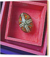 Easter Egg In Pink Box Wood Print