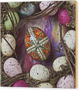 Easter Egg With Wreath Wood Print