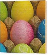 Easter Eggs Carton 2 A Wood Print