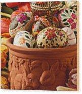 Easter Eggs In Flower Pot Wood Print