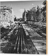 Edinburghs New Tram System Under Construction In St Andrews Square Scotland Uk United Kingdom Wood Print