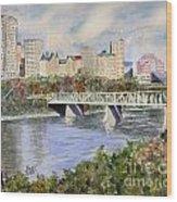 Edmonton Skyline Wood Print