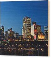 Edmonton Skyline Panorama 2 Wood Print