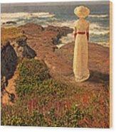 Edwardian Lady By The Sea Wood Print