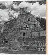 Edzna Pyramid Climber Campeche Mexico Wood Print