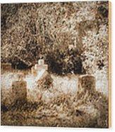 Eerie Cemetery Wood Print by Sonja Quintero