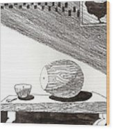 Egg Drawing 019613 Wood Print