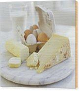 Eggs And Cheese Wood Print by David Munns