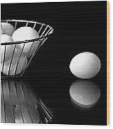 Eggs In Black And White Wood Print