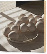 Eggs Lit Through Venetian Blinds Wood Print