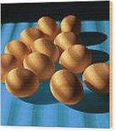 Eggs On Blue Lit Through Venetian Blinds Wood Print